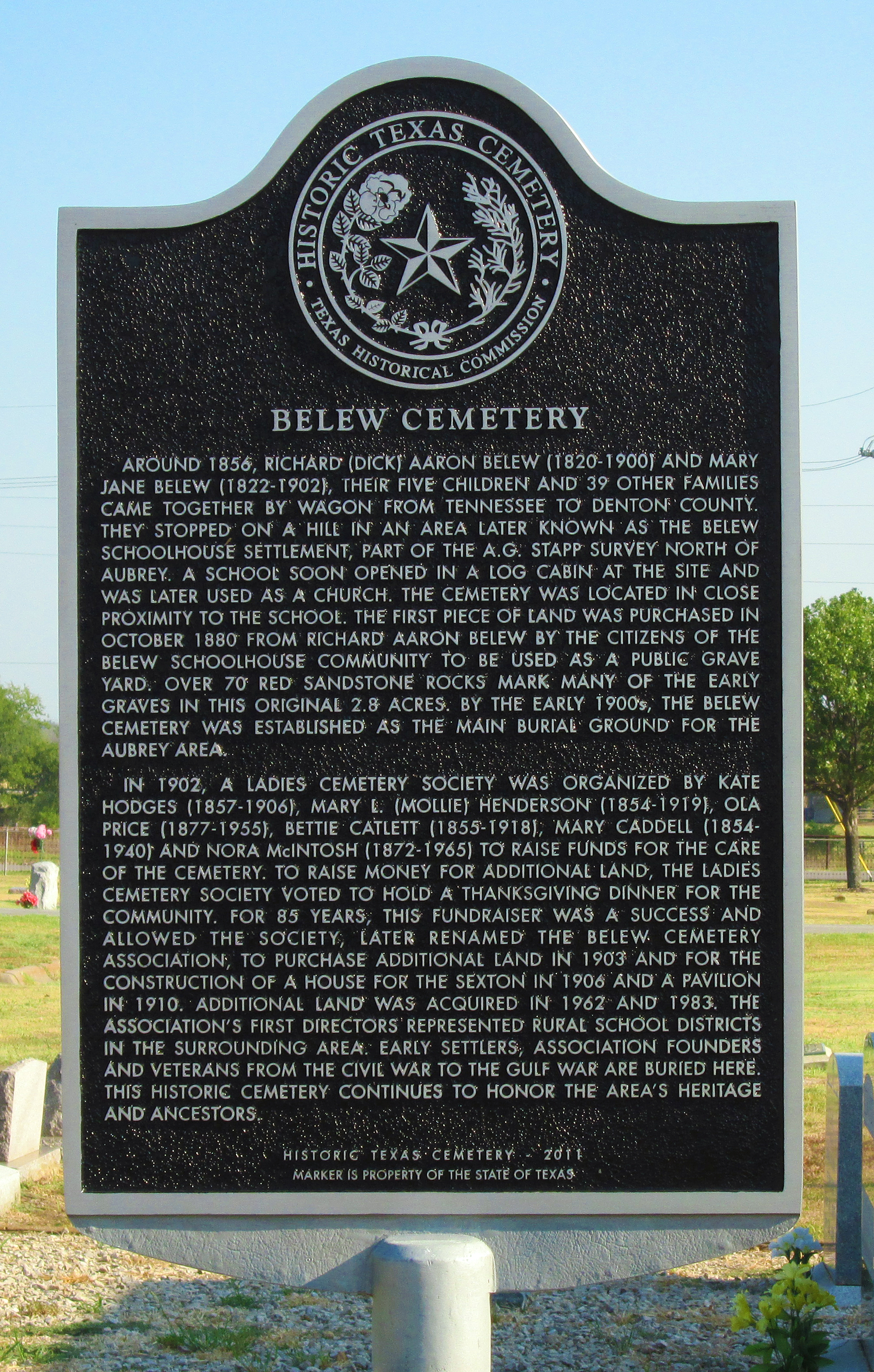 Belew Cemetery Historical Marker